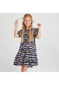 Reserved - Bawełniana sukienka - Granatowy. Kolor: niebieski. Materiał: bawełna