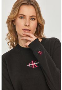 Czarna bluza Calvin Klein Jeans z długim rękawem, casualowa, z aplikacjami