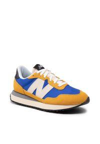 New Balance - Sneakersy NEW BALANCE - MS237AA Niebieski Żółty. Kolor: żółty, niebieski, wielokolorowy. Materiał: skóra, materiał, zamsz. Szerokość cholewki: normalna