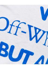 OFF-WHITE - Biały t-shirt z logo. Kolor: biały. Materiał: jeans, dresówka, materiał, bawełna