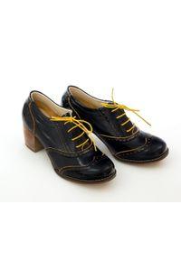 Zapato - sznurowane półbuty na 6 cm słupku - skóra naturalna - model 251 - kolor żółty naplak. Kolor: żółty. Materiał: skóra. Obcas: na słupku