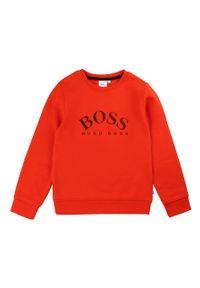 Czerwona bluza BOSS z nadrukiem, na co dzień