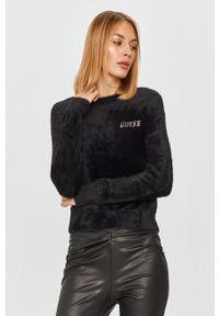 Czarny sweter Guess Jeans z długim rękawem, z aplikacjami