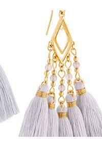 MOKOBELLE - Szare wiszące kolczyki z chwostami Isabelle. Materiał: pozłacane, złote. Kolor: szary