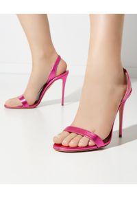 AQUAZZURA - Różowe sandały na szpilce So Nude. Zapięcie: pasek. Kolor: różowy, fioletowy, wielokolorowy. Wzór: paski. Obcas: na szpilce
