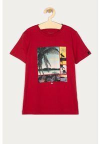 Czerwony t-shirt Quiksilver casualowy, z nadrukiem, na co dzień