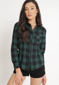 Born2be - Ciemnozielona Koszula Siniaphe. Kolor: zielony. Materiał: tkanina, jeans. Długość: długie. Wzór: aplikacja