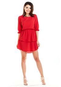 Awama - Rozkloszowana sukienka mini z falbanami. Okazja: na co dzień. Styl: casual. Długość: mini