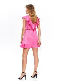 Różowa sukienka TOP SECRET koszulowa, mini