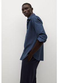 Niebieska koszula Mango Man klasyczna, z długim rękawem, długa, z klasycznym kołnierzykiem