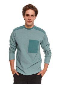 TOP SECRET - Bluza męska z łączonych materiałów. Kolor: zielony. Materiał: materiał. Długość rękawa: długi rękaw. Długość: długie. Sezon: jesień