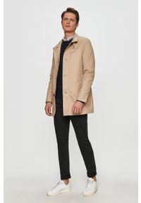 Beżowy płaszcz Tommy Hilfiger Tailored casualowy, bez kaptura, na co dzień