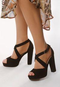Born2be - Czarne Sandały No Longer. Okazja: na wesele, na ślub cywilny, na imprezę, na randkę. Nosek buta: otwarty. Zapięcie: pasek. Kolor: czarny. Materiał: jeans. Wzór: paski. Obcas: na platformie