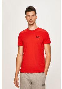 Czerwony t-shirt EA7 Emporio Armani na co dzień, casualowy