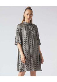 Manila Grace - MANILA GRACE - Sukienka z nadrukiem w kropki. Kolor: szary. Wzór: kropki, nadruk. Typ sukienki: rozkloszowane. Długość: mini