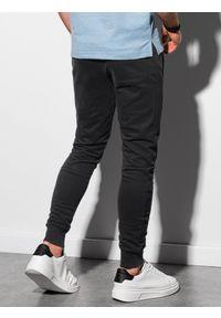Ombre Clothing - Spodnie męskie dresowe joggery P948 - czarne - XXL. Kolor: czarny. Materiał: dresówka