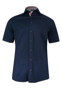 Niebieska elegancka koszula Rigon krótka, z krótkim rękawem, na spotkanie biznesowe