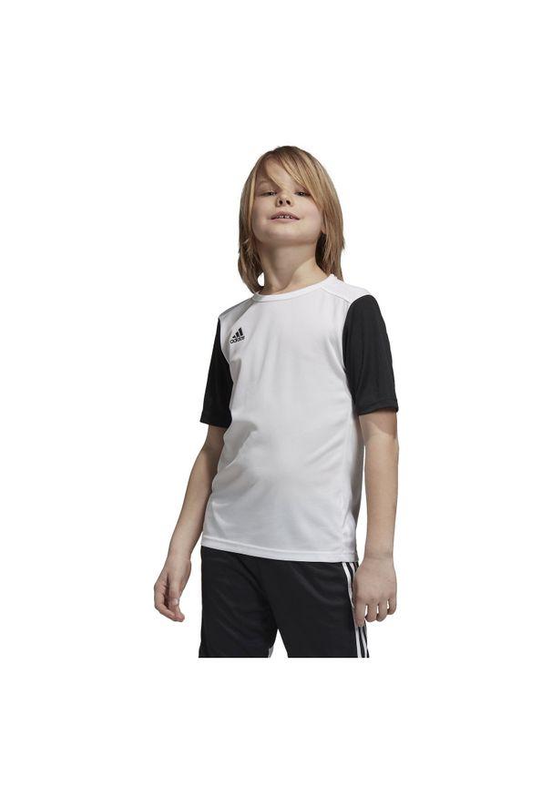 Adidas - Koszulka piłkarska dla dzieci adidas Estro 19 Jr DP3221. Materiał: materiał, syntetyk, włókno, skóra, poliester. Długość rękawa: krótki rękaw. Technologia: ClimaLite (Adidas). Długość: krótkie. Sport: piłka nożna