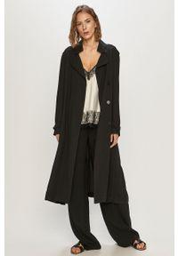 Czarny płaszcz DKNY bez kaptura, gładki, klasyczny