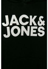 Czarna bluza Jack & Jones casualowa, z nadrukiem, na co dzień
