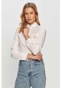 Biała koszula Trussardi Jeans długa, z aplikacjami, z klasycznym kołnierzykiem