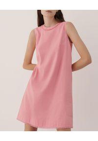 Marella - MARELLA - Różowa sukienka Jessy. Kolor: wielokolorowy, różowy, fioletowy. Materiał: len, bawełna. Wzór: aplikacja. Typ sukienki: proste, rozkloszowane. Długość: mini