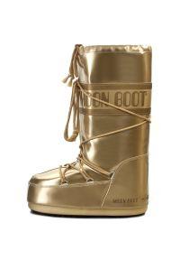 Złote śniegowce Moon Boot na zimę, z cholewką