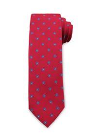 Męski Krawat Chattier - Czerwony, Drobne Kwiatki. Kolor: czerwony. Materiał: tkanina. Wzór: kwiaty. Styl: wizytowy, elegancki