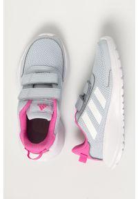 Szare buty sportowe Adidas z cholewką, na rzepy, z okrągłym noskiem, do biegania