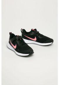 Czarne buty sportowe Nike Kids z okrągłym noskiem, na rzepy, z cholewką, Nike Revolution