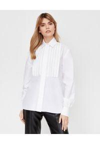 ALEXANDRE VAUTHIER - Biała koszula z kryształowymi zdobieniami. Kolor: biały. Materiał: bawełna. Długość rękawa: długi rękaw. Długość: długie. Wzór: aplikacja. Styl: elegancki, klasyczny