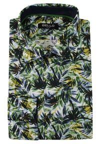 Zielona elegancka koszula Bello długa, do pracy, z długim rękawem