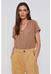 Mos Mosh - T-shirt. Okazja: na co dzień. Kolor: brązowy. Materiał: dzianina. Styl: casual