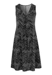 Cellbes Wzorzysta, rozszerzana sukienka z dżerseju. Czarny biały female czarny/biały 50/52. Kolor: czarny, biały, wielokolorowy. Materiał: jersey