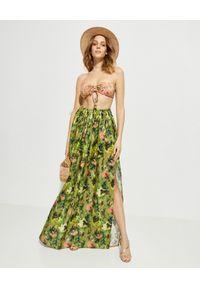 ANJUNA - Lniana spódnica maxi Adele. Stan: podwyższony. Kolor: zielony. Materiał: len. Wzór: aplikacja, kolorowy