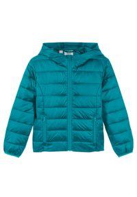 Niebieski płaszcz bonprix z kapturem