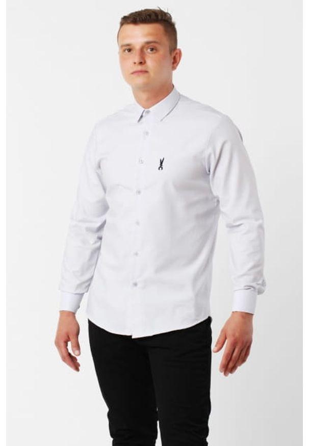 Szara koszula Edward Orlovski z krótkim rękawem, z klasycznym kołnierzykiem