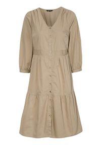 Beżowa sukienka Happy Holly z dekoltem w serek