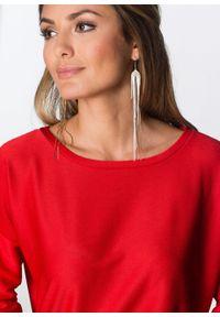 Sukienka z dżerseju, rękawy 3/4 bonprix czerwony. Okazja: na co dzień. Kolor: czerwony. Materiał: jersey. Wzór: prążki. Typ sukienki: proste. Styl: casual