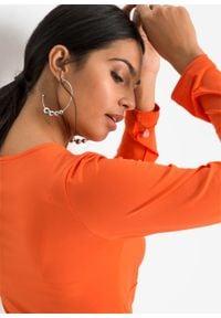 Pomarańczowa bluzka bonprix z kokardą, długa, z długim rękawem