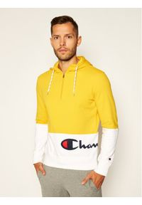 Champion Bluza Half Zip-Up Colour Block Wraparound Logo Hoodie 214205 Żółty Comfort Fit. Kolor: żółty