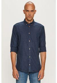 Niebieska koszula Tailored & Originals długa, na co dzień, casualowa, button down