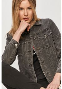 Vila - Kurtka jeansowa. Okazja: na co dzień. Kolor: szary. Materiał: jeans. Styl: casual