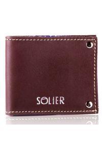 Solier - Skórzany cienki portfel wizytownik SOLIER SW21 brązowy vintage. Kolor: brązowy. Materiał: skóra
