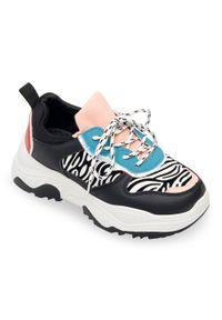 Czarne buty sportowe BELLO STAR trekkingowe, na co dzień, w kolorowe wzory