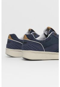 Niebieskie sneakersy Wrangler z cholewką, z okrągłym noskiem, na sznurówki