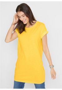 """Długi shirt """"boxy"""", krótki rękaw bonprix żółty kanarkowy. Kolor: żółty. Długość rękawa: krótki rękaw. Długość: krótkie"""