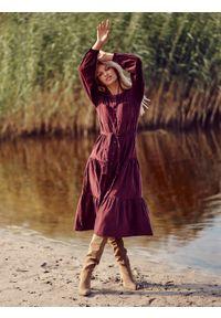 TOP SECRET - Sztruksowa sukienka koszulowa. Kolor: fioletowy. Materiał: sztruks. Typ sukienki: koszulowe