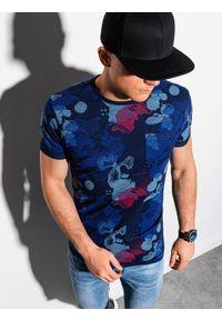 Ombre Clothing - T-shirt męski z nadrukiem S1377 - ciemnoniebieski - XXL. Kolor: niebieski. Materiał: bawełna, poliester. Wzór: nadruk