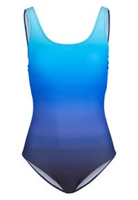 Kostium kąpielowy shape Level 3 bonprix niebieski z nadrukiem. Kolor: niebieski. Wzór: nadruk